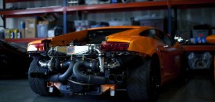 Rear View of Lamborghini engine