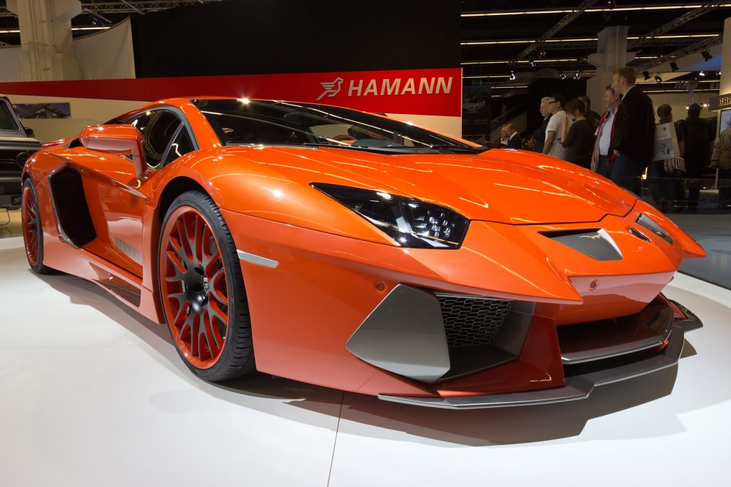 Lamborghini Aventador Hamann Nervudo at the IAA motor show on Sep 13 2013 in Frankfurt. More than 1.000 exhibitors from 35 countries are present at the world's largest motor show.