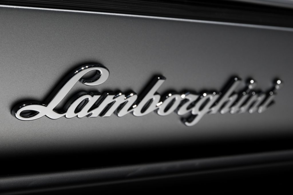 Lamborghini sign on the rear of a Lamborghini Huracan sports car at the 87th Geneva International Motor Show.
