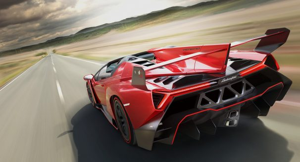 Red Lamborghini Veneno Roadster on Road