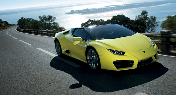 Yellow Lamborghini with Coastal Background