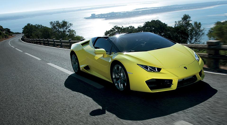 Yellow Lamborghini with Coastal Background