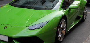 Lime Green Lamborghini on street