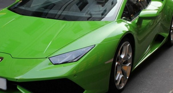 Lime Green Lamborghini on street