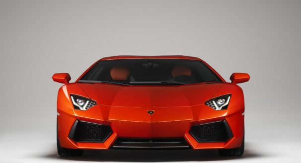 Front of Orange Lamborghini