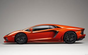 Side View of Orange Lamborghini Aventador