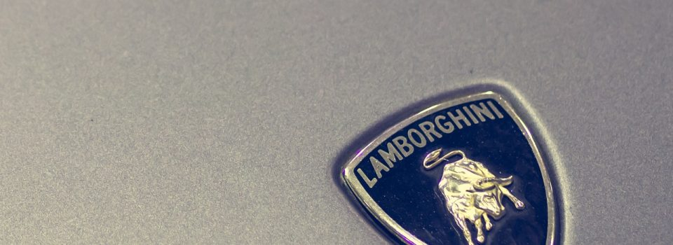 Lamborghini Badge Logo with Silver Background