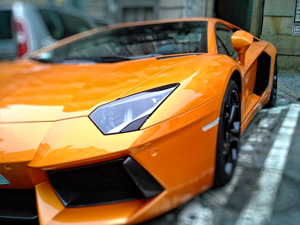 Orange Lamborghini on Street