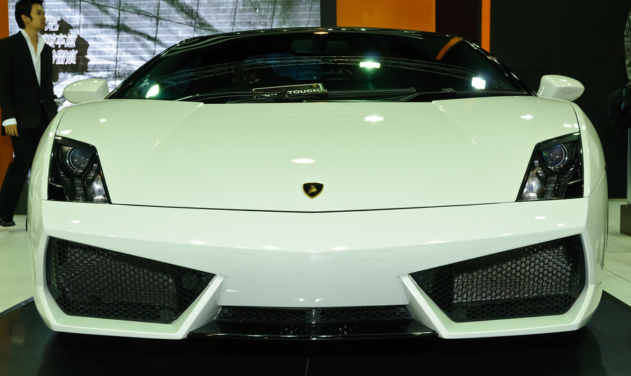 Front of White Lamborghini